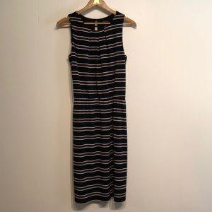 WHBM black/brown/white striped dress